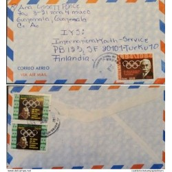 A) 1984, GUATEMALA, INTERNATIONAL OLYMPIC COMMITTEE, FROM MIXCO TO FINLAND, AIRMAIL,