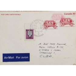 A) 1982, CANADA, ISABEL II, FROM VANCOUVER TO CAMAGUEY-CARIBBEAN, AIRMAIL, POSTCARD, XF