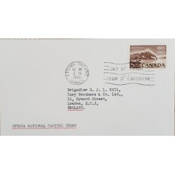 A) 1965, CANADA, CAPITAL OF OTTAWA, FROM OTTAWA TO ENGLAND, FDC, XF