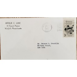 A) 1958, UNITED STATES, RELIGIOUS FREEDOM IN AMERICA, FROM MASSACHUSSETTS TO NEW YORK, CANCELLATION