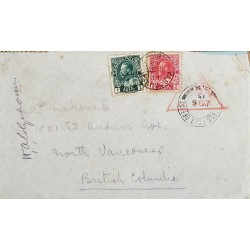 A) 1915, CANADA, CENSOR MILITARY, JORGE V, LETTER SHIPPED TO BRITISH COLUMBIA, RED TRIANGULAR CANCELLATION, XF