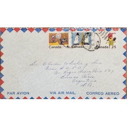 A) 1970, CANADA, CHRISTMAS, LETTER SHIPPED TO BUENOS AIRES – ARGENTINA, AIRMAIL, CARTOON, XF