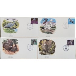 A) 1986, CANADA, BIRDS, SNOWGOOSE, BLUE HERON, CANADA GROUSE, FDC, SERIES OF 4, XF