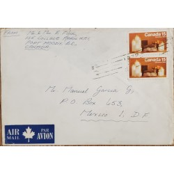A) 1972, CANADA, CHRISTMAS, FROM PORT MOODY TO MEXICO DF, AIRMAIL, WITH SEAL OF CANCELLATION