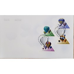 A) 2001, CANADA, AIR BALLOONS, FDC, PHILATELY MONTH, XF