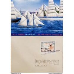 A) 1936, CANADA, FIRST CANADIAN ROCKET – FLIGHT, POSTACARD, SHIPPED TO NEW YORK, HALIFAX TALL BOATS THE GREAT SAILBOATS