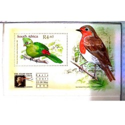 A) 2000, SOUTH AFRICA, BIRDS, INTERNATIONAL PHILATELIC EXHIBITION THE STAMP SHOW 2000. LONDON