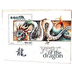 A) 2000, SOUTH AFRICA, DRAGON, CHINESE NEW YEAR, MULTICOLOR, MINISHEET, 4.60r