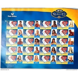 A) 2000, SOUTH AFRICA, WORLD POST DAY, GLADIATORS, BLOCK OF 40, MULTICOLORED, XF