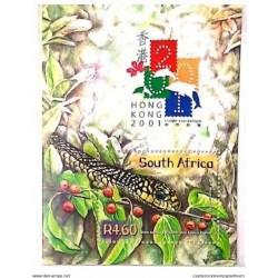A) 2001, SOUTH AFRICA, SNAKE, CHINESE NEW YEAR, HONG KONG INTERNATIONAL PHILATELIC EXHIBITION, MINISHEET