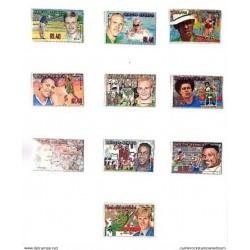 A) 2001, SOUTH AFRICA, NATIONAL SPORTS HEROES, ATHLETICS-Hezekiel Sepeng, FOOTBALL-Lucas Radebe