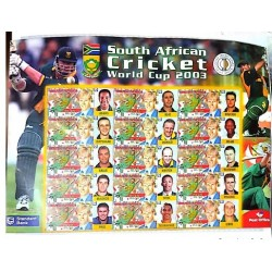 A) 2001, SOUTH AFRICA, CRICKET 2003 WORLD CUP JONTY RHODES LABELS DEPICTING ITHER PLAYERS, SOUVENIR SHEET