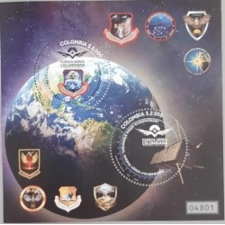A) 2021, COLOMBIA, SPACE UNIT OF THE AIR FORCE, COAT OF ARMAS, MINISHEET, MULTICOLORED, XF