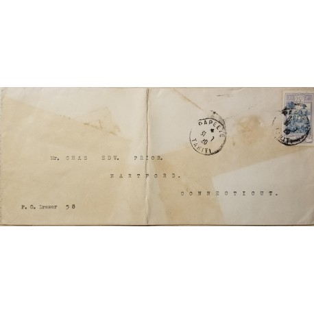 J) 1920 FRANCE, ESTABLISHMENTS, AIRMAIL, CIRCULATED COVER, FROM FRANCE TO HARTFORD CONNECTICUT