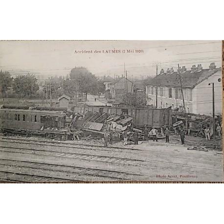 J) 1920 FRANCE, LAUMES ACCIDENT, PHOTO ARVET, POLLLENAY, POSTCARD, CITY, XF