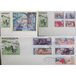 A) 1980, ANTIGUA AND BARBUDA, CHRISTMAS. SLEEPING BEAUTY, FDC, DISNEY, AURORA IN SEARCH OF THE PRINCE