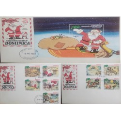 A) 1981, DOMINICA, CHRISTMAS. SANTA CLAUSE`S WORKSHOP, FDC, DISNEY, FATHER CHRISTMAS