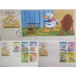 A) 1981, ANGUILLA, WALT DISNEY CHARACTERS, FDC, DISNEY, DONALD, CHIP N DALE, MINNIE MOUSE
