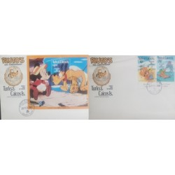 A) 1981, TURKS AND CAICOS ISLANDS, 50TH ANNIVERSARY OF PLUTO, FDC, DISNEY, PLUTO WITH SHELL