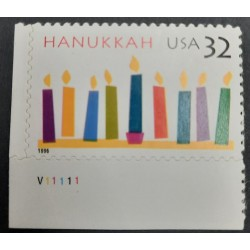 A) 1996, ISRAEL, HANUKKAH, LAMPS AND CANDLES, RELIGION, JOINT WITH THE UNITED STATES,