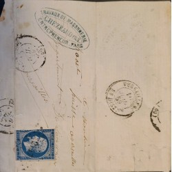 J) 1859 FRANCE, EMPEROR MARIANNE, OVAL CANCELLATION, CIRCULATED COVER, FROM FRANCE TO PARIS