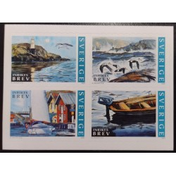 L) 2002 SWEDEN, BOAT, BEACH, LIGTHOUSE, BIRDS, MNH