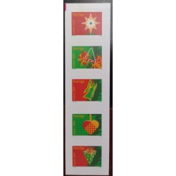 L) 2001 SWEDEN, CHRISTMAS, GREEN& RED, PRESENT, ANGELS, STRIP OF 5, MNH
