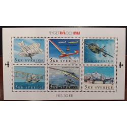 L) 2001 SWEDEN, AVIATION HISTORY, AIRPLANE, MNH