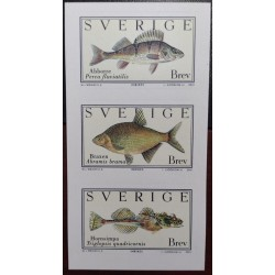 L) 2001 SWEDEN, FISH, NATURE, ANIMALS, MARINE,COMMON BREAM, STRIP OF 3, MNH