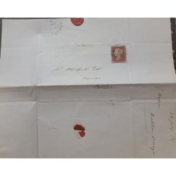J) 1847 ENGLAND, EXTRAORDINARY LETTER OF RED PENNY PAPER ON BLUISH PAPER, PLATES E AND B, TO MR STANSFIELD A HALLIFAX, XF