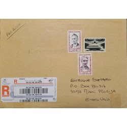 J) 2013 FRANCE, AIRPLANE, HEROES OF RESISTANCE, MULTIPLE STAMPS, AIRMAIL, CIRCULATED COVER, FROM FRANCE TO USA