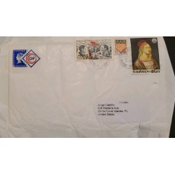 J) 2017 FRANCE, SHIELD, PAINTING, MULTIPLE STAMPS, AIRMAIL, CIRCULATED COVER, FROM FRANCE TO USA