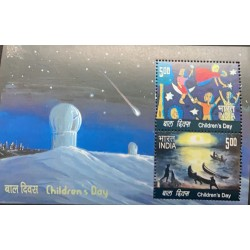 J) 2007 INDIA, CHILDREN'S DAY, SPACE, SOUVENIR SHEET, XF