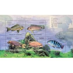 J) 2011 COMORAS, FLORA AND FAUNA MINERALS, FISH, SOUVENIR SHEET