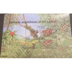 J) 2001 SRI LANKA, SRI LANKA ENDEMIC AMPHIBIANS, FROGS, SOUVENIR SHEET