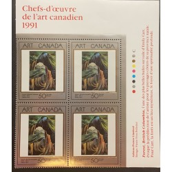 J) 1991 CANADÁ, BLOCK OF 4MASTERPIECES OF CANADIAN ART, XF