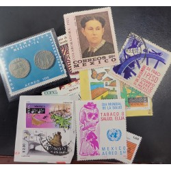 A) 1980 AND OTHER YEARS MEXICO LOT, DIFFERENT TOPICS HEALTH, NUMISMATICS, STAMP AND VALUE PRINTING WORKSHOPS