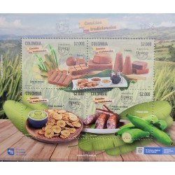 A) 2019 COLOMBIA AMERICA UPAEP GASTRONOMY, TYPICAL DISHES BLOCK OF 4