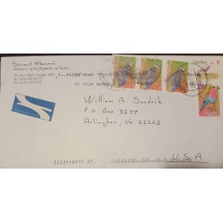 A) 2003, SOUTH AFRICA, FISHES AND BIRDS, LETTER TO THE UNITED STATES, AIRMAIL, XF