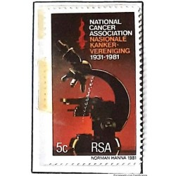 A) 1981, SOUTH AFRICA, ANNIVERSARY OF THE NATIONAL ASSOCIATION FOR THE FIGHT AGAINST CANCER, TELESCOPE, MLTICOLOR, MNH