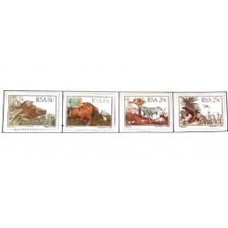 A) 1982, SOUTH AFRICA, DINOSAURS, BRADYSAURUS, LYSTROSAURUS, EUPARKERIA, THRINAXODON, STRIP OF 4 STAMPS, MNH