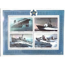 A) 1982 SOUTH AFRICA, SIMONSTOWN NAVAL BASE ANNIVERSARY: SUBMARINE, COMBAT VEDETTE, DRAGAMINS, COAST GUARD, MINISHEET
