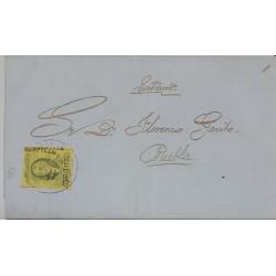 A) 1861, MEXICO, CIRCULATED LETTER OF 4 REALES DE VERACRUZ, DOUBLE PRINT, SENT TO PUEBLA, XF