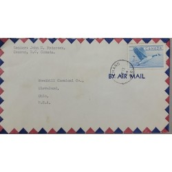 A) 1952 CANADA, AVES, CANADIAN GOOSE, LETTER SENT FROM KEMANO TO THE UNITED STATES, XF