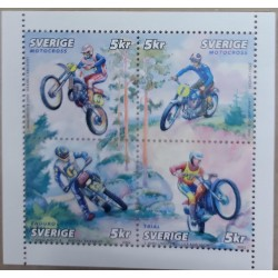 A) 2002 SWEDEN, SPORTS, MOTORCYCLES, BLOCK OF 4, MNH
