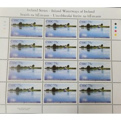A) 2006, IRELAND, WATERWAYS, BOAT, RIO SHANNON, MEELICK QUAY, BLOCK OF 12 STAMPS
