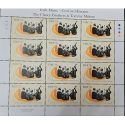 A) 2006, IRELAND, MUSIC, IRELAND GROUP, BLOCK OF 12 CLANCY BROTHERS AND T. MAKEM, 1960s, GUITAR STAMPS