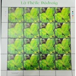 A) 2007, IRELAND TREBOL, SAINT PATRICK'S DAY, LEAF WITH 16 STAMPS, MNH