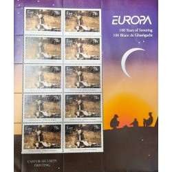 A) 2007, IRELAND, JOINT ISSUE WITH EUROPE, 100 YEARS OF THE SCOUTS MOVEMENT, SOUVENIR SHEET WITH 10 STAMPS