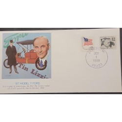 L) 1980 USA, HENRY FORD, AUTOMOBILE, FLAG, FDC